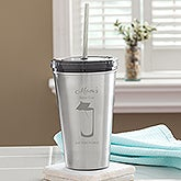 Personalized Stainless Steel Tumbler - Big Girl Sippy Cup - 13777