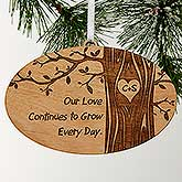 Personalized Couples Christmas Ornaments - Initials Carved In Love - 13790