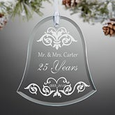 Personalized Anniversary Glass Bell Christmas Ornament - 13817