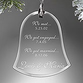 Special Dates Couple Engraved Bell Ornament