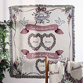 Embroidered Anniversary Afghan - Anniversary Hearts Design - 1381D