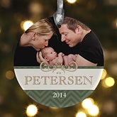 Personalized Photo Christmas Ornaments - Holiday Chevron - 13829