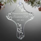 Personalized Memorial Christmas Ornaments - In Loving Memory Cross - 13835