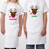 Personalized Kids Christmas Aprons - Reindeer - 13837