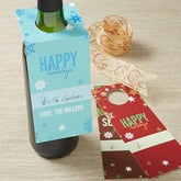 Personalized Christmas Wine Bottle Tags - Season's Greetings - 13840