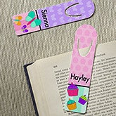 Personalized Bookmarks For Girls - Butterflies, Cupcakes, Flowers, Ladybugs - 13847