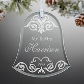 Personalized Wedding Christmas Ornaments - Damask Wedding Bell - 13856
