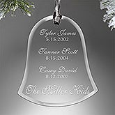 Personalized Christmas Ornaments - Engraved Glass - Family Special Dates - 13857