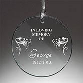 SunCatcher Memorial Glass Personalized Ornament - 1389