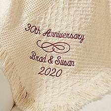Personalized Wedding Anniversary Embroidered Afghan - 13892