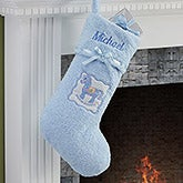 Personalized Baby's First Christmas Stocking - Blue Chenille - 13899