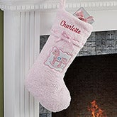 Personalized Baby's First Christmas Stocking - Pink Chenille - 13900