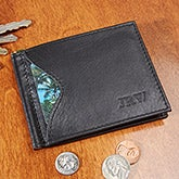 Personalized Men's Wallet - RFID Blocking Leather Cash Clip - 13905