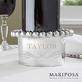 Personalized Wine Bottle Holder - Mariposa - String Of Pearls - 13945