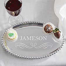 Personalized Oval Serving Tray - Mariposa String of Pearls - 13946