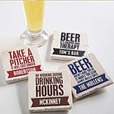 Personalized Tumbled Stone Coasters - Beer Quotes - 13948