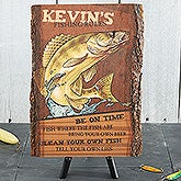 Personalized Basswood Plaque - Fishing Rules - 13951