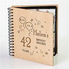 Engraved Wooden Birthday Photo Album - Birthday Memories Design - 1397