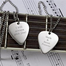 Personalized Silver Guitar Pick Necklace - Romantic Love - 13977