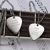 Personalized Silver Guitar Pick Necklace - Romantic Love - 13977