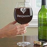 Personalized Full Bottle Wine Glass - Couple In Love - 13987