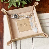 Personalized Valet Tray - Initial Monogram - Tan - 13989