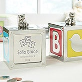 Personalized Baby Block Engraved Silver Bank - 14003