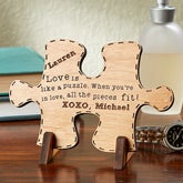 Personalized Romantic Keepsake Gifts - Perfect Match Wood Puzzle Piece - 14006