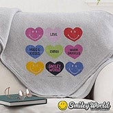 Personalized Smiley Face Kids Blankets - Loving Hearts - 14009