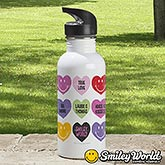 Personalized Kids Smiley Face Waterbottle - Loving Hearts - 14010