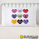 Personalized Smiley Face Kids Pillowcase -  Loving Hearts - 14011