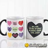 Personalized Coffee Mugs - Smiley Face Loving Hearts - 14013
