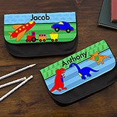 Personalized Boys Pencil Case - Sports, Cars, Dinosaurs, Robots - 14043