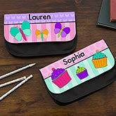 Personalized Girls Pencil Case - Flowers, Butterflies, Ladybugs, Cupcakes - 14044