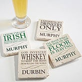 Irish Quotes Personalized Tumbled Stone Coaster Set