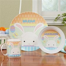 Personalized Easter Bunny Kids Dishes - Happy Easter - 14082D