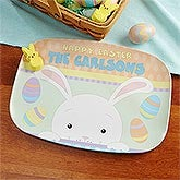Personalized Easter Bunny Platter - Happy Easter - 14083D