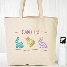 Personalized Easter Tote Bag - Hop Hop Bunnies - 14087