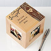 Personalized Romantic Photo Cube - Carved In Love Initials - 14095