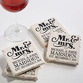 Personalized Stone Coaster Set - Mr & Mrs Wedding Coasters - 14102