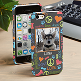 Personalized Pet Photo iPhone 5C Case - Peace, Love, Dogs - 14112