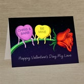 Personalized Valentine's Day Greeting Cards - Candy Heart Rose - 14139