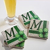 Personalized Stone Coaster Set - Lucky Clover - 14175