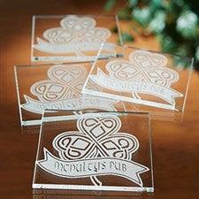 Personalized Glass Coasters - Celtic Shamrock - 14214
