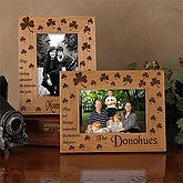 Personalized Irish Shamrock Engraved Wood Picture Frame - 1423