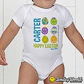 Personalized Baby's First Easter Clothes - Smiley Face Easter Eggs - 14248
