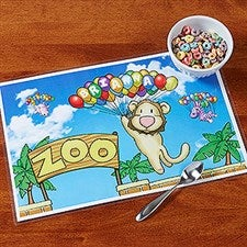 Personalized Kids Placemat - Floating Zoo - 14257