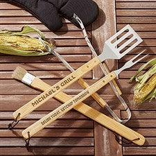 Personalized BBQ Grill Utensil Set - You Name It - 14378