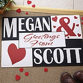 Personalized Welcome Mat - You and Me Heart Design - 1442