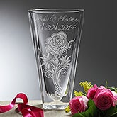 Rose Romance Personalized Deep Etched Crystal Vase